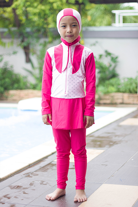 Kids Muslimah Swimwear -  BK201 (Pink light)
