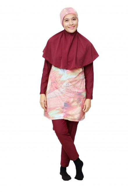 Baju Renang Muslimah - SBDP 001 (Red Pink)