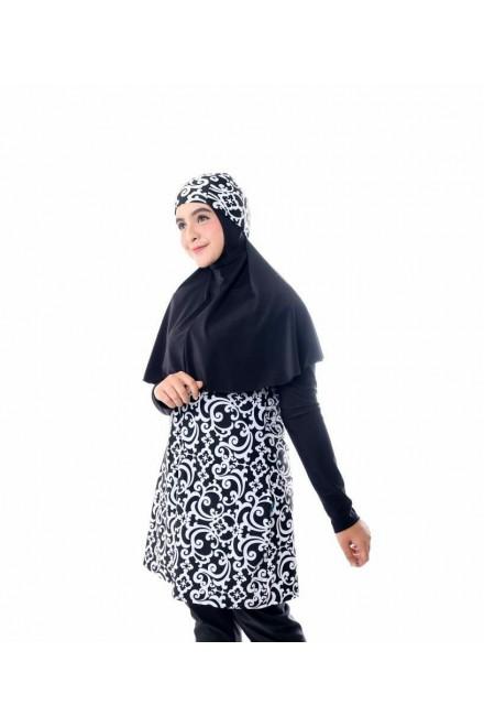 Baju Renang Muslimah - SB 201 (  BLACK CORAK WHITE FLOWER)