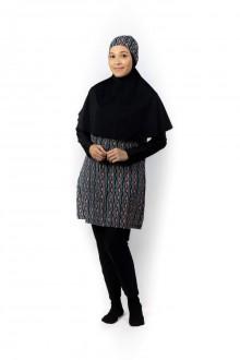 Baju Renang Muslimah - SB 507 (STRIPLE BLACK)