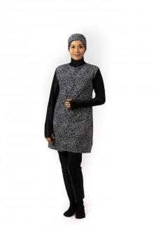 Baju Renang Muslimah - SB 508 (  BLACK CORAK WHITE POLKADOT)
