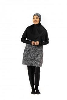 Baju Renang Muslimah - SB 501 (  BLACK CORAK WHITE POLKADOT)