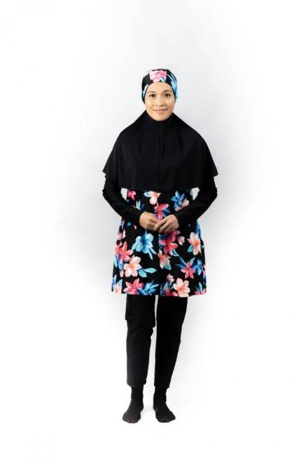 Baju Renang Muslimah - SB 504 (FLORAL BLACK )
