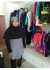 Baju Renang Muslimah - SB 502 (  WHITE BLACK FLOWER )