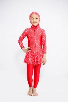 Baju Renang Anak - BK 401 Baju Renang (polkadot red )