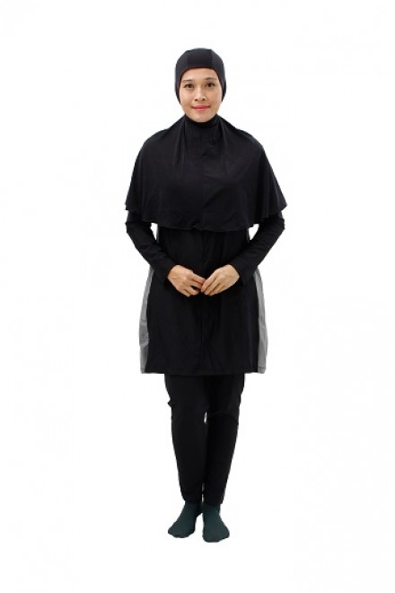 Baju Renang Muslimah - SBDP 002 ( PLAIN GREY BLACK) -OUT OF STOCK-