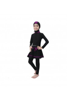Kids Muslimah Swimwear - BK 07 (Plain Black Purple)