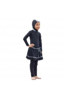 Kids Muslimah Swimwear - BK001 (Plain Black Grey)