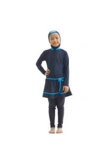 Kids Muslimah Swimwear - BK002 (Plain Black Blue)