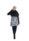 Baju Renang Muslimah - SB 511 (BLACK FLORAL WHITE )