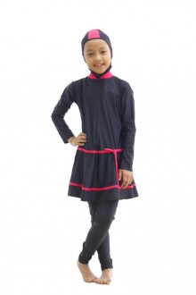 Kids Muslimah Swimwear - BK 007 (Plain Black Pink)