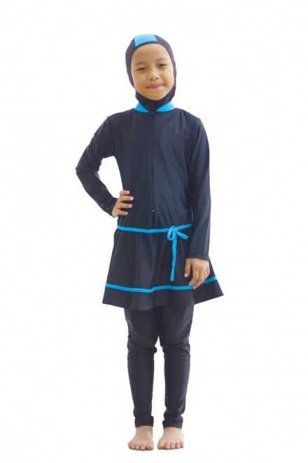 Kids Muslimah Swimwear - BK010 (Plain Black Blue)