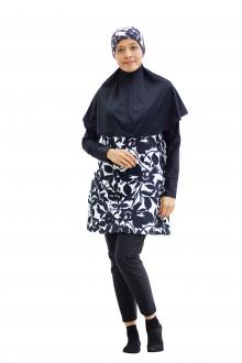 Baju Renang Muslimah - SB 401 ( CORAK BLACK WHITE FLOWER)