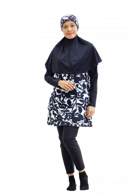 Baju Renang Muslimah - SBDP 401 ( CORAK BLACK WHITE FLOWER)