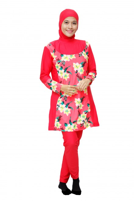 Baju Renang Muslimah - DR004 (Red Pink)-OUT OF STOCK-