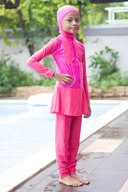 Kids Muslimah Swimwear -  BK201 (Pink Polkadot)-OUT OF STOCK-
