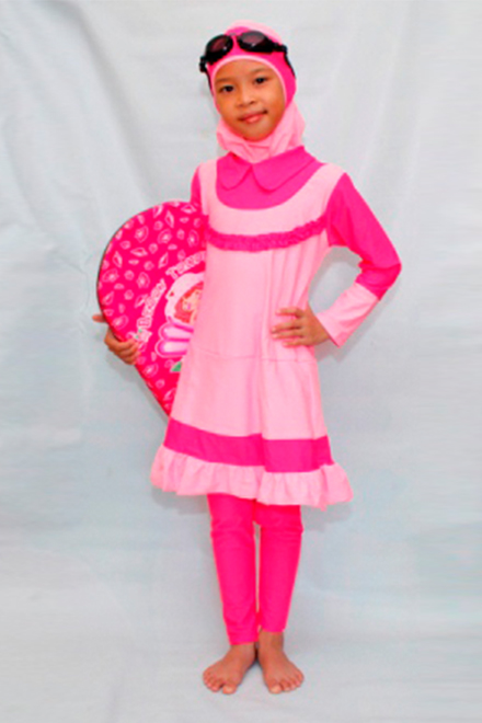 Kids Muslimah Swimsuit - CS14 (Sweet Pink) -OUT OF STOCK-