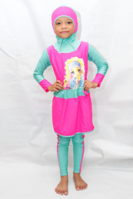 Kids Muslimah Swimsuit CS20 (Princess Pink Green)-OUT OF STOCK-