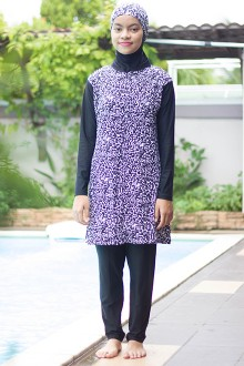 Baju Renang Muslimah - SBDP 342 (Black Abstract)-OUT OF STOCK-
