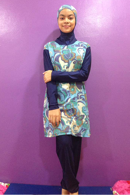 Baju Renang Muslimah - SBDP 348 (Blue Flower)-OUT OF STOCK-