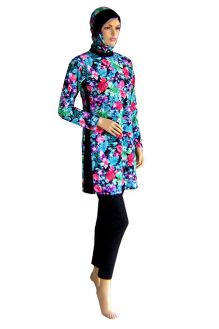 Baju Renang Muslimah - MS05 (Blue Flower)-OUT OF STOCK-