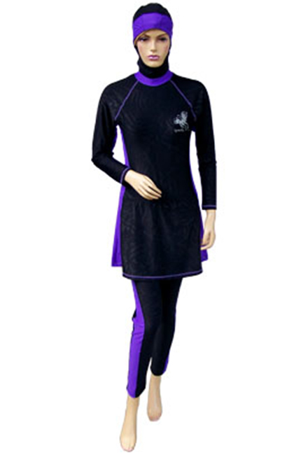 Baju Renang Muslimah - SM03 (Plain Black Purple) -OUT OF STOCK-