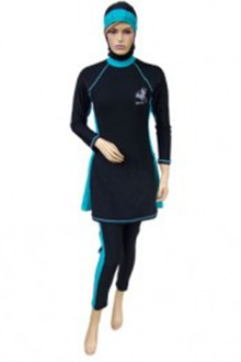 Baju Renang Muslimah - SM03 (Plain Blue Turquise) -OUT OF STOCK-