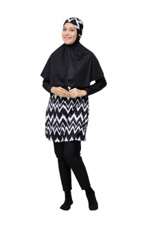 Baju Renang Muslimah - SBDP 340 (Black White)-OUT OF STOCK-