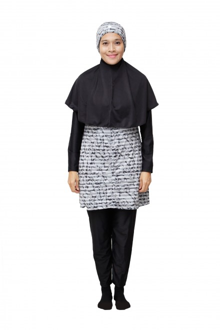 Baju Renang Muslimah - SBDP 231 (Grey Black)-OUT OF STOCK-