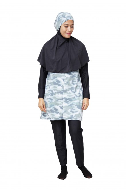 Baju Renang Muslimah - SBDP 234 (Camo Black)-OUT OF STOCK-