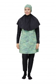 Baju Renang Muslimah - SBDP 233 (Black Green) -OUT OF STOCK-